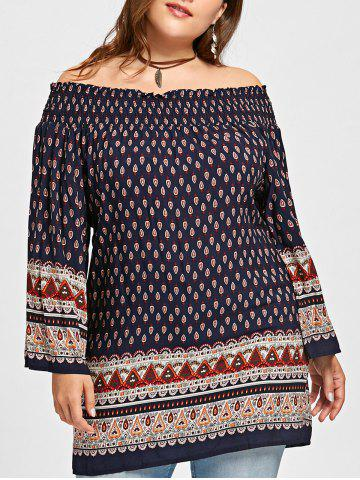 Outfit Plus Size Leaf Print Off The Shoulder Blouse