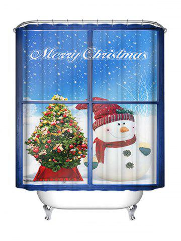 Best Christmas Snowman Window Print Waterproof Bathroom Shower Curtain