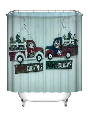 Discount Christmas Car Greetings Print Waterproof Bathroom Shower Curtain