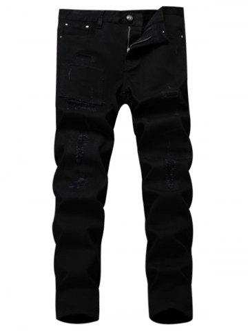 Affordable Straight Leg Applique Ripped Pants