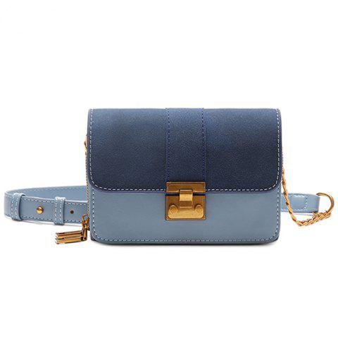 Outfit Contrasting Color Metallic PU Leather Crossbody Bag