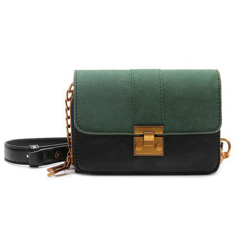 Latest Contrasting Color Metallic PU Leather Crossbody Bag