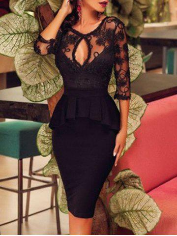 Discount Keyhole Neck Lace Panel Peplum Dress