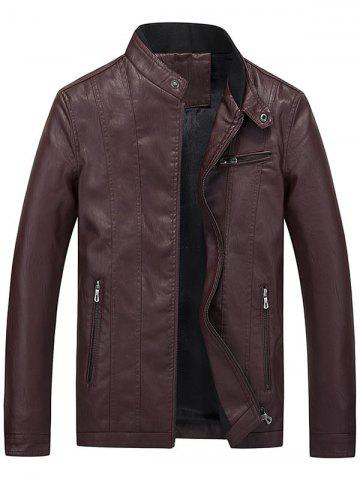 Flocking Casual Faux Leather Jacket with Zipper Pocket