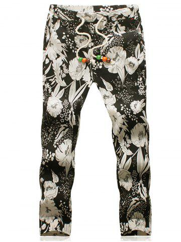Best Flower Cotton Linen Blended Casual Pants
