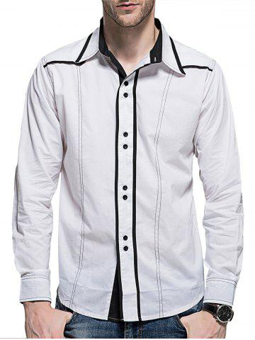 Shop Curved Hem Button Cuff Long Sleeve Shirt