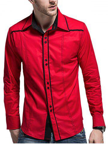 Affordable Curved Hem Button Cuff Long Sleeve Shirt