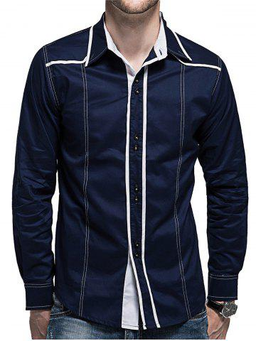 Store Curved Hem Button Cuff Long Sleeve Shirt