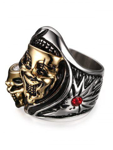 Affordable Stainless Steel Rhinestone Funny Skull Ring