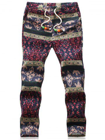 Discount Ethnic Style Retro Floral Loose Linen Pants