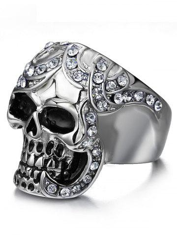 Online Rhinestoned Skull Finger Ring