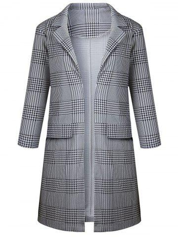 Long Houndstooth Plaid Coat