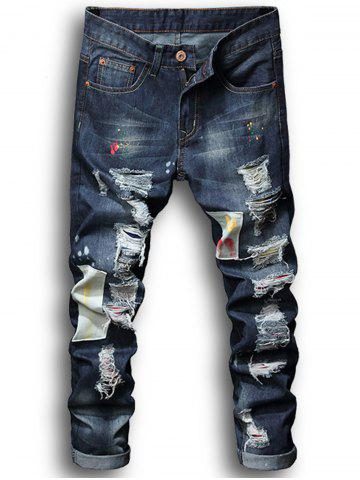 Shops Paint Patch Embroidered Ripped Jeans
