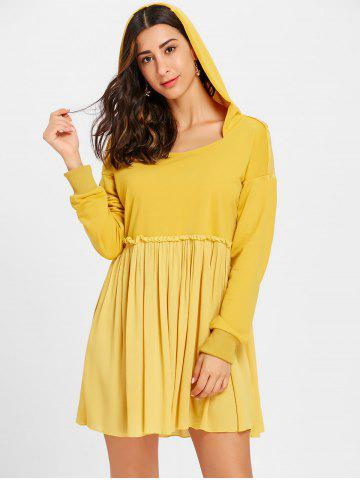 Store Long Sleeve Hooded Pleated Dress