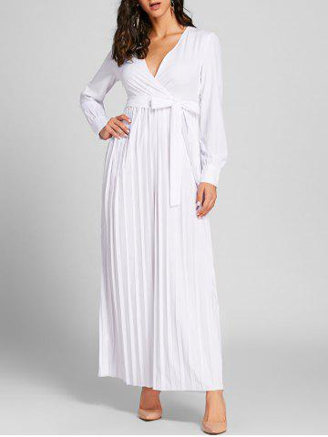 Fashion Pleated Surplice Neck Warp Maxi Dress