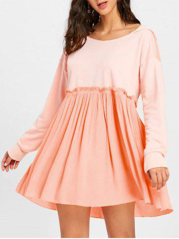 Discount Long Sleeve Hooded Pleated Dress