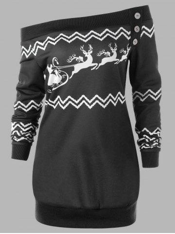 Best Plus Size Pullover Christmas Zigzag Deer Skew Neck Sweatshirt