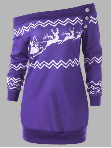 Hot Plus Size Pullover Christmas Zigzag Deer Skew Neck Sweatshirt