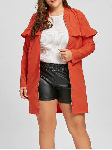 Affordable Plus Size Zip Up Ruffle Trench Coat