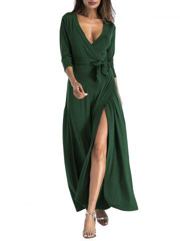 Chic Plunging Belted Surplice High Slit Maxi Dress
