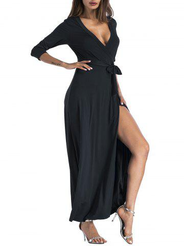 Outfits Plunging Belted Surplice High Slit Maxi Dress