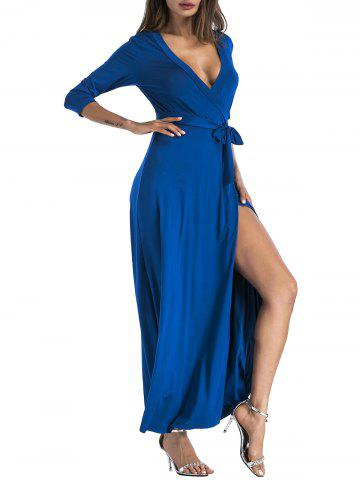 Fashion Plunging Belted Surplice High Slit Maxi Dress