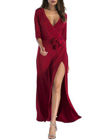 Cheap Plunging Belted Surplice High Slit Maxi Dress