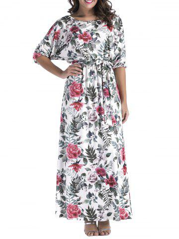 Best Batwing Sleeve Floral Print Belted Maxi Dress