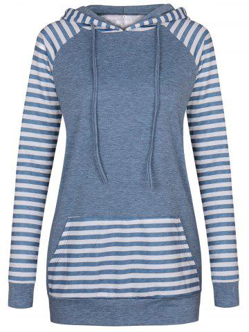 Raglan Sleeve Kangaroo Pocket Striped Hoodie