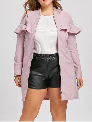 Online Plus Size Zip Up Ruffle Trench Coat