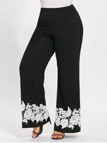 Hot Plus Size Floral Appliqued Palazzo Pants