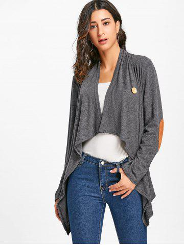Elbow Patch Asymmetric Cardigan