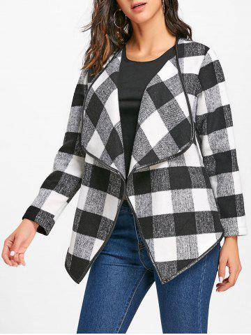 Affordable Turndown Collar Plaid Jacket