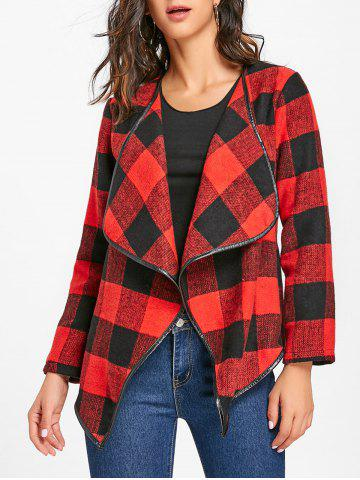 Discount Turndown Collar Plaid Jacket