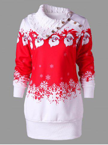 Cheap Santa Claus Print Plus Size Tunic Sweatshirt Dress