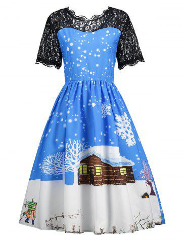 Christmas Snow Print Lace Insert Dress