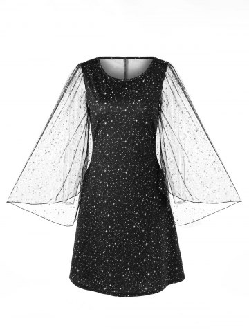 Cheap Sheer Bell Sleeve Galaxy Dress