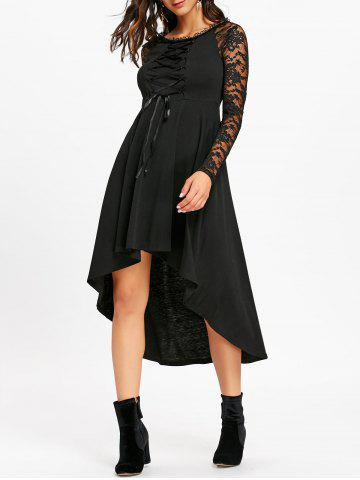 Lace Up High Low Dress