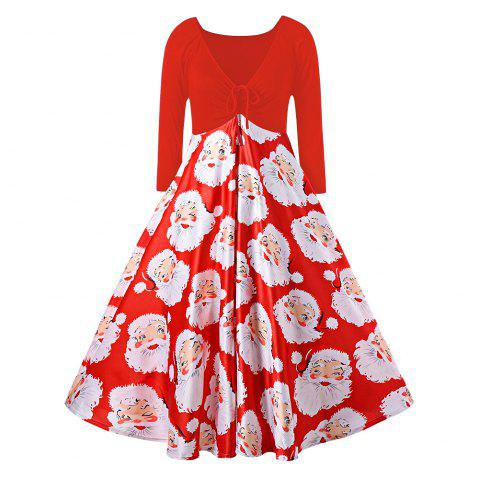 Discount Plus Size Santa Claus Print Midi Christmas Dress