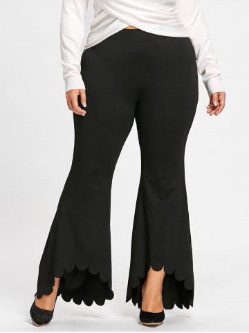 Outfit Plus Size Scalloped Edge Dip Hem Flare Pants