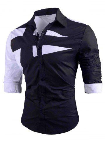 Discount Button Up Long Sleeve Color Block Shirt