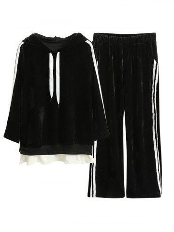 Affordable Striped Velvet Hoodie and Wide Leg Pants