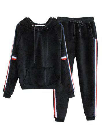 Affordable Striped Fuzzy Hoodie and Drawstring Sweatpants