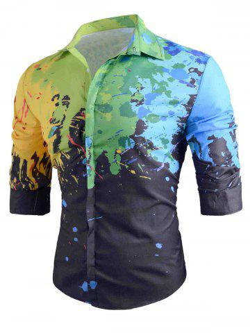 Outfits Colored Paint Splatter Long Sleeve Shirt