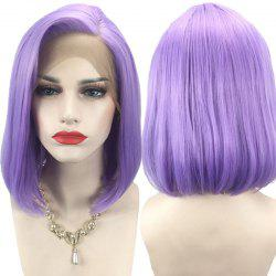 Side Parting Straight Short Bob Synthetic Lace Front Wig -