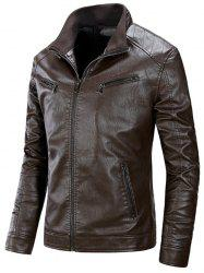 Flocage Zip Up PU Veste en Cuir - Café XL