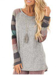 Striped Raglan Sleeve Round Neck T-shirt -
