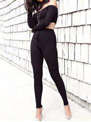 Off The Shoulder Ribbed Skinny Suit -