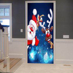 Christmas Santa Deer Pattern Door Cover Stickers -