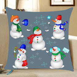 Christmas Snowmen Party Print Decorative Linen Pillowcase - Colorful - W18 Inch * L18 Inch